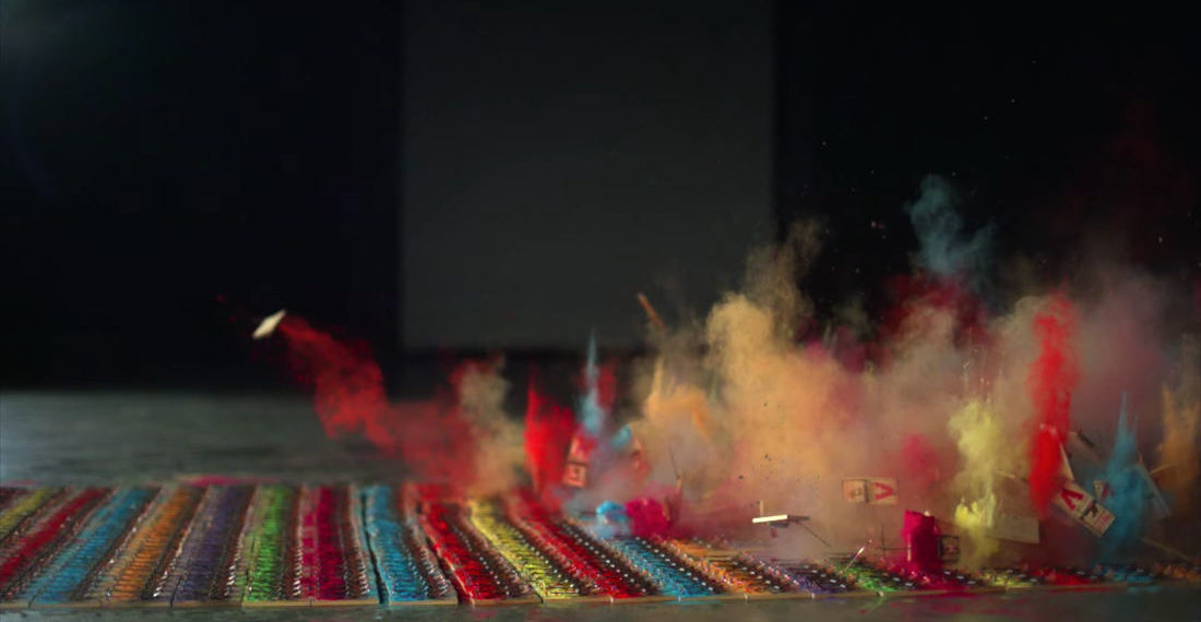 1,000 Paint-Covered Mousetraps Being Set Off In Glorious Slow-Motion Chain Reaction