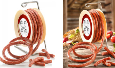 11.5-Foot Salami Sold On Rotating Drum Like A Garden Hose