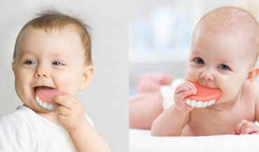 A Baby Teething Ring That Looks Like They're Taking Out Their Dentures