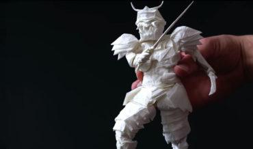 Artist's 50-Hour Process Of Folding Single Sheet Of Paper Into A Samurai Warrior