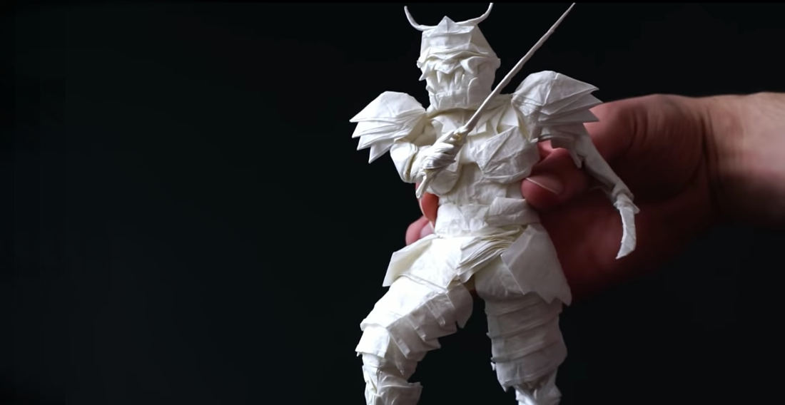 Artist's 50-Hour Process Of Folding Single Sheet Of Paper Into A Samurai Warrior