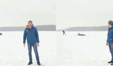 Sports Car Doing Donuts On Not-So-Frozen Lake Ends Swimmingly