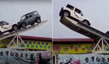 Oh Wow: The Ol' Cars On A Giant Seesaw Balancing Act