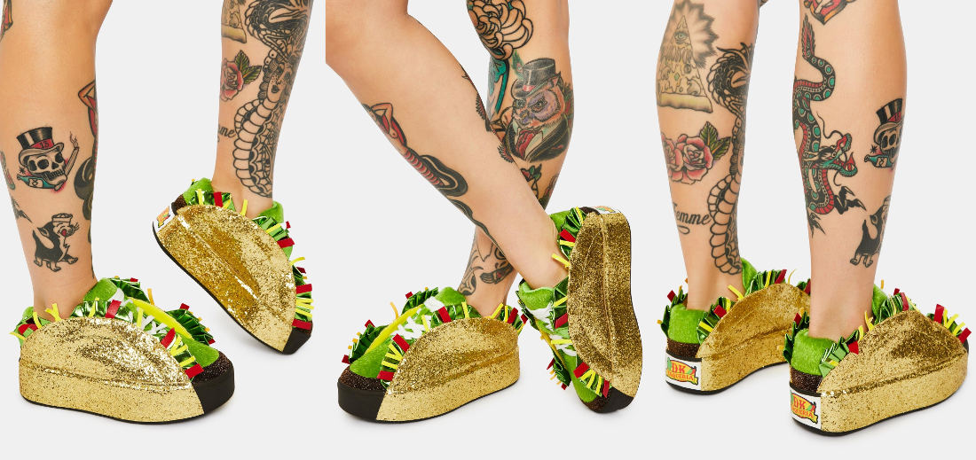 Women's Gold Glitter Taco Sneakers: For Taco Tuesday, Everyday
