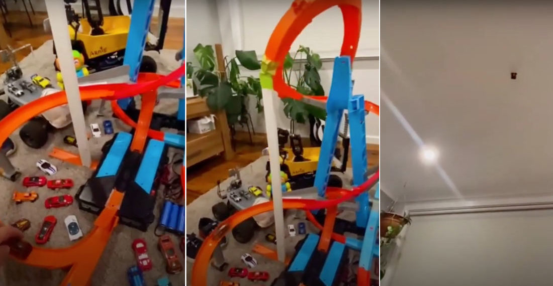 Woopsie: Guy Accidentally Launches Hot Wheels Car Through Ceiling