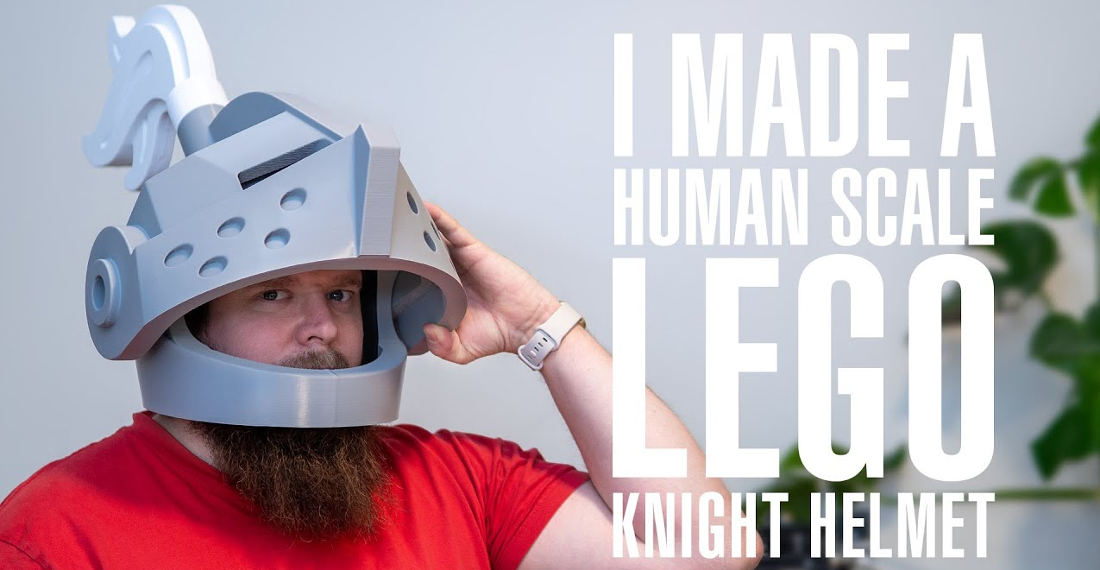 Man Makes Himself A Human Scale LEGO Minifig Knight's Helmet
