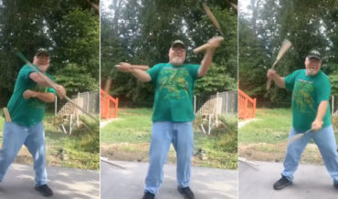 Older Ninja In TMNT Shirt Demonstrates His Bo Staff And Nunchuck Skills