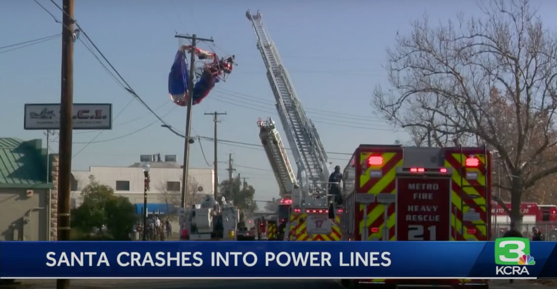 Santa Takes Off In Paraglider, Immediately Crashes Into Power Lines