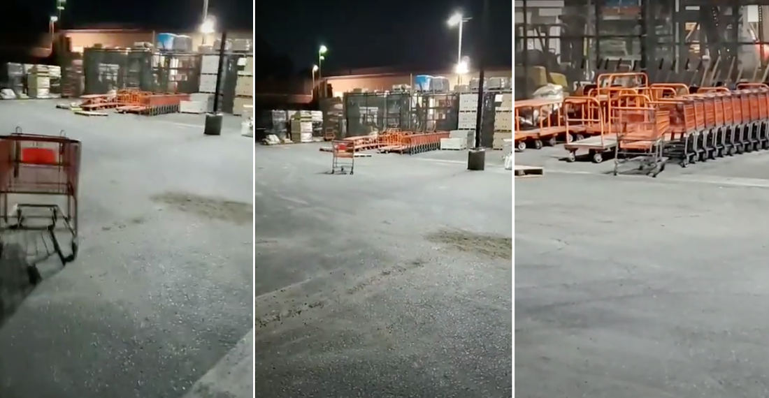 Home Depot Employee Makes Shopping Cart Hole In One