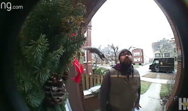 Surprise!: Squirrel Jumps On UPS Delivery Driver Waiting At Door
