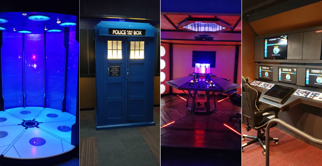 Guy Gives Tour Of His Incredibly Impressive Star Trek And Doctor Who Themed Basement