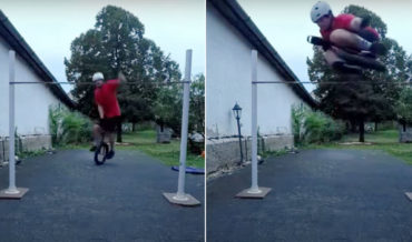 To Infinity And Beyond!: Guy Performs High Jump On Unicycle