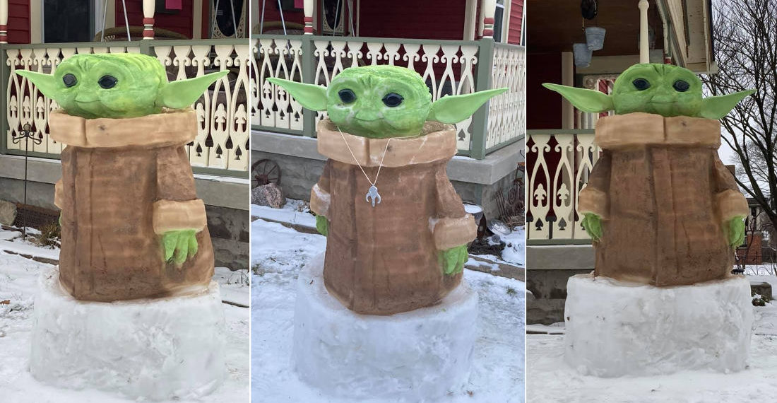 A Baby Yoda Painted Snow Sculpture