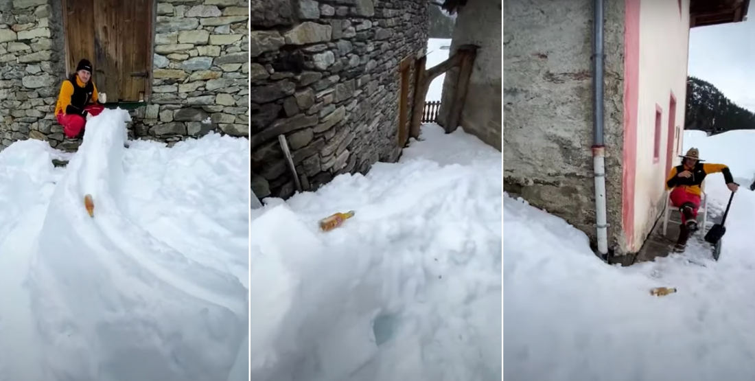 Guys Create Beer Bottle Luge Track Out Of Snow