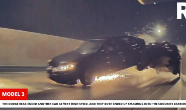 Dodge Challenger Causes Accident While Trying To Race Tesla