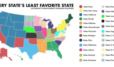 The United States Map Of Each State's Least Favorite State