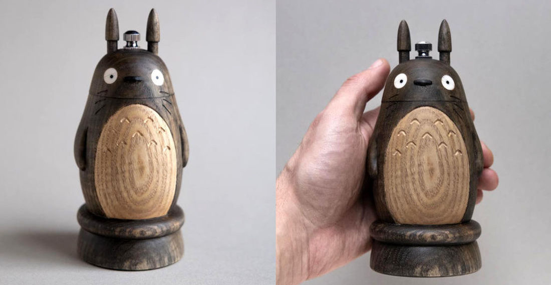 Beautiful Hand Carved Totoro Pepper Grinder