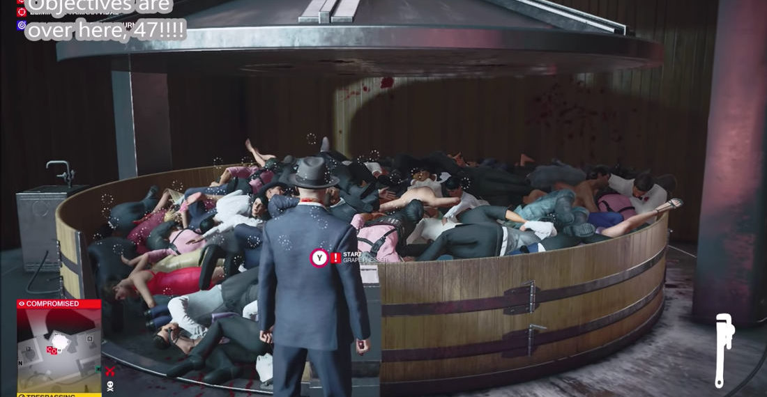 Hitman 3 Player Drags Everyone From Level Into Grape Press, Crushes Them All At Once