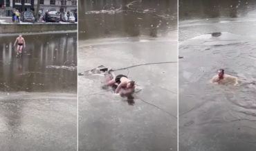 Ice Skater Crashes Through Thin Ice Of Amsterdam Canal