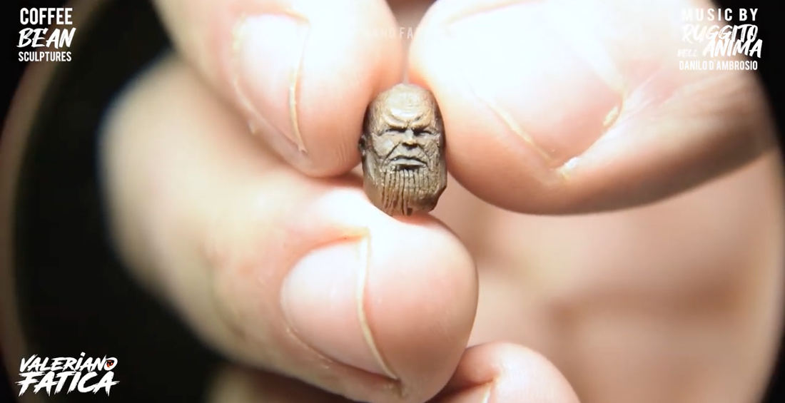 Timelapse Compilation Of Artist Carving Coffee Beans Into Marvel Character Faces