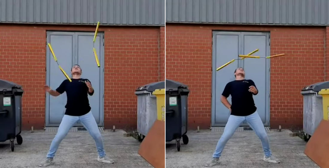 Modern Ninja Demonstrates His Nunchuck Skills, Including Throwing And Catching