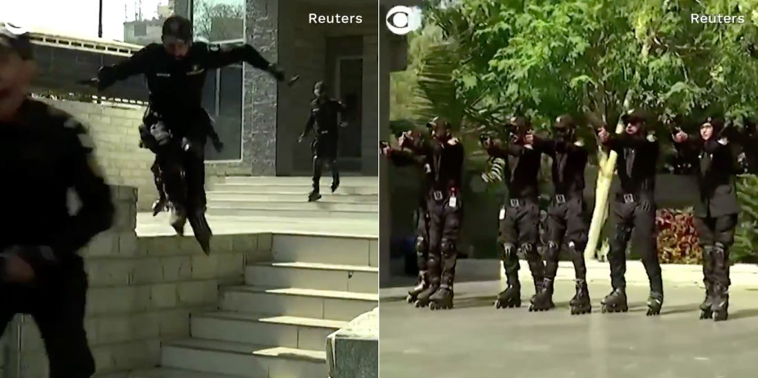 Video Of Pakistan's Elite Armed Rollerblading Police Unit