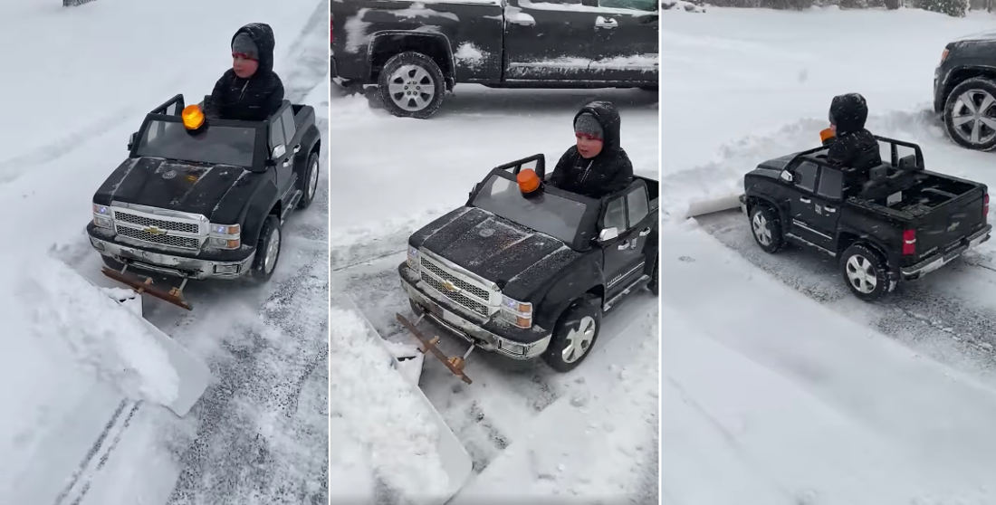 Come Do My Driveway: Kid Plows Snow With Modified Power Wheels