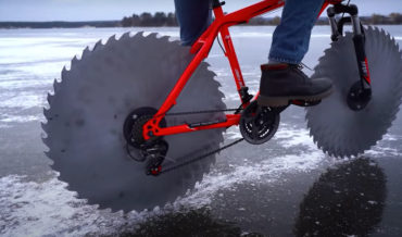 Replacing A Bike's Wheels With Giant Saw Blades To Ride On A Frozen Lake