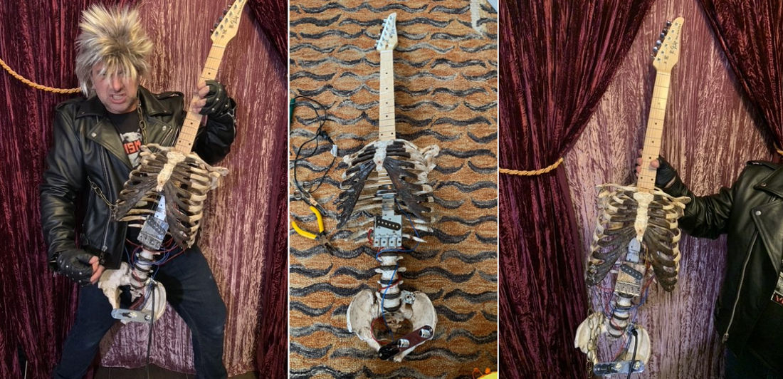 Shredding For Eternity: Man Turns Uncle's Skeleton Into Electric Guitar