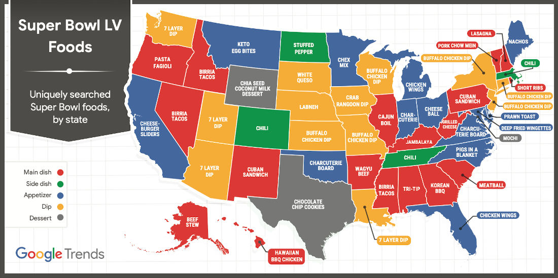 The 2021 United States Map Of Super Bowl Food Searches