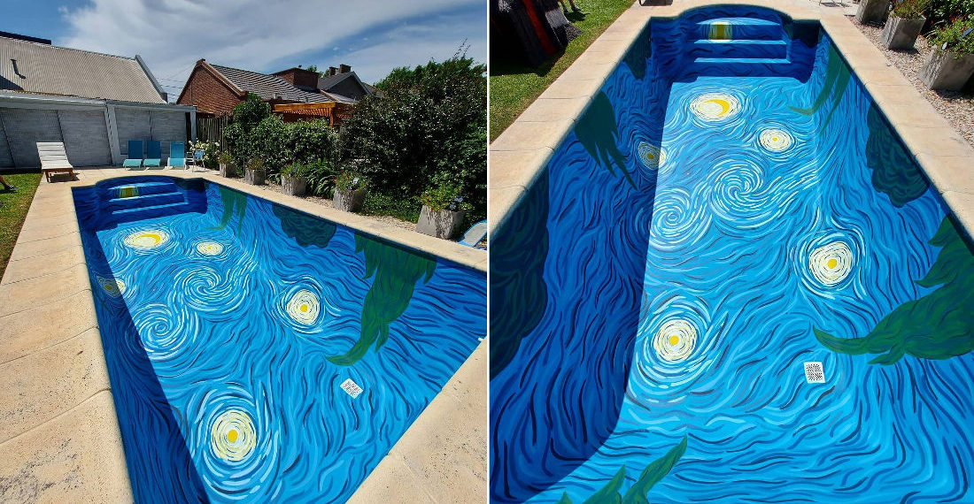A Swimming Pool Painted In The Style Of Van Gogh's 'A Starry Night'