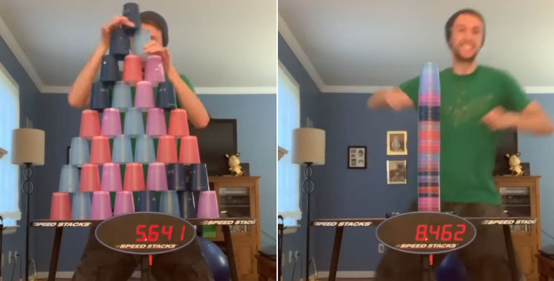Man Stacks And Unstacks 36-Cup Pyramid In Under 9-Seconds
