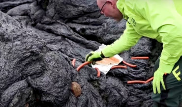 Scientists Cooking Hot Dogs On Active Icelandic Volcano