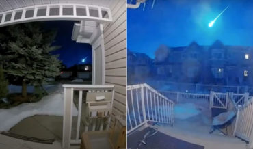 A Doorbell Cam Compilation Of A Bright Blue Meteor Above Calgary, Canada