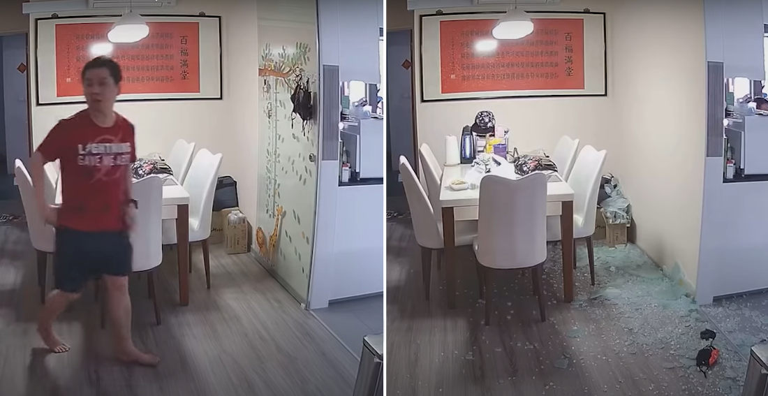 Home Security Cam Captures Tempered Glass Wall Exploding