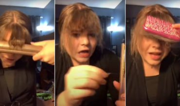 Girls Accidentally Melts Rubber Band In Hair Using Straightener