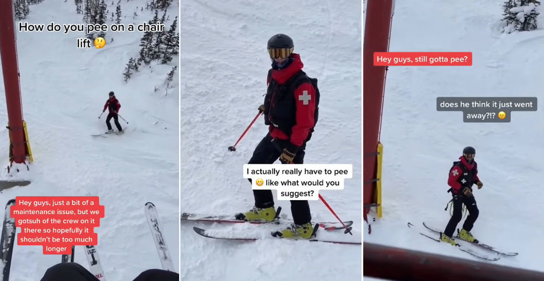 Guy Stuck On Ski Lift For Two Hours Needs To Pee