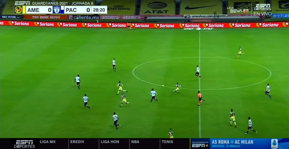 Soccer Player Blasts Shot In From Just Inside Halfway Line