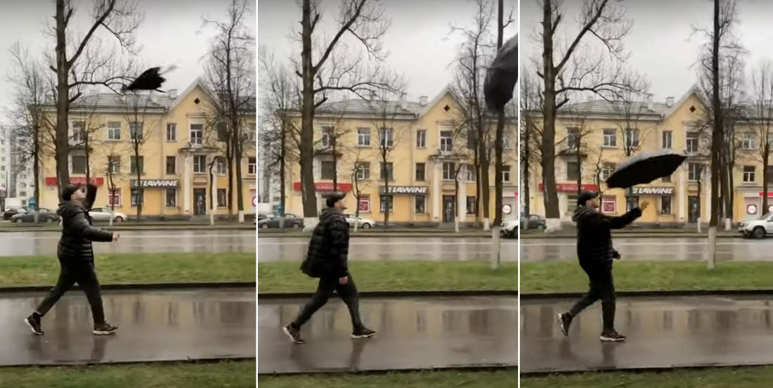 Smooth: Man Throws Umbrella As It Opens, Air Catches It, He Catches It