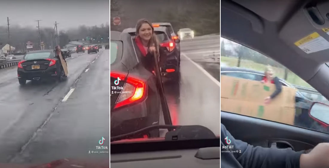 Smart: Girl Hangs Out Car Window To Transport Empty Box