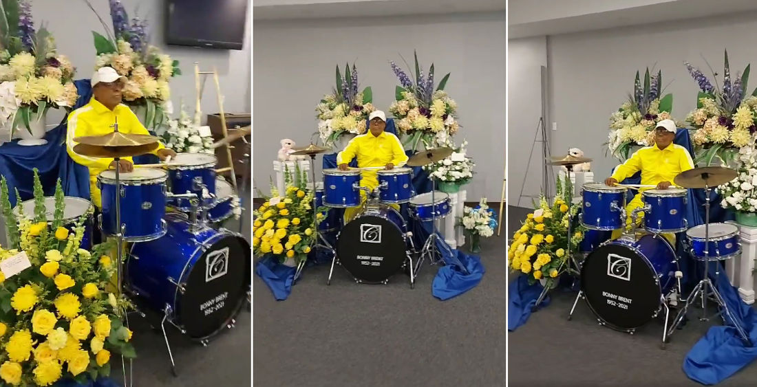 Deceased Drummer Tastefully Set Up Behind Drum Kit At Funeral Viewing