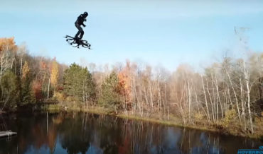 Drone Follow Footage Of Crazy Green Goblin Style Hoverboard