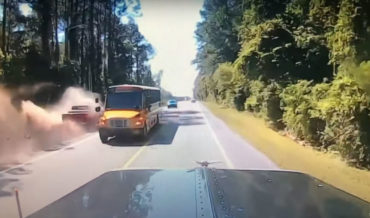 Truck Trying To Overtake Traffic On Side Of Road Winds Up In Ditch