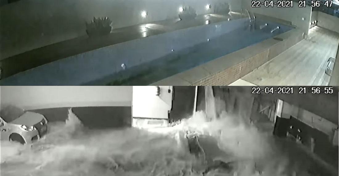 Video Of Condo Building's Raised Pool Collapsing Into Garage Below
