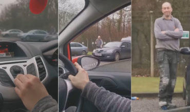 Motorist Trolls Guy Inflating Flat Tire By Playing 'Pump It Up'