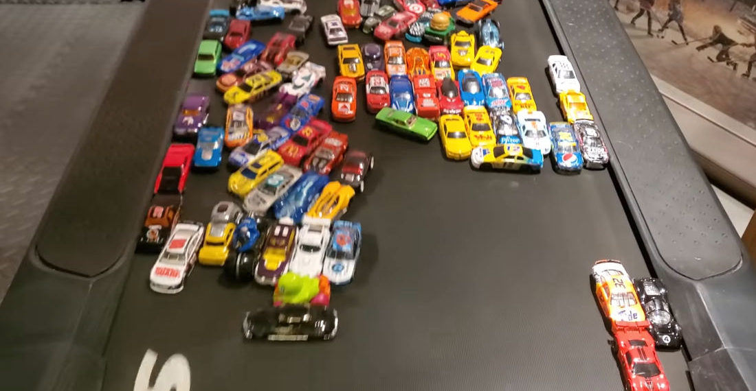 100-Car Hot Wheels Demolition Derby On Treadmill