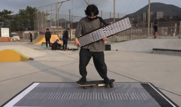 Electronic Record Scratching Via Barcode Reader Attached To Skateboard