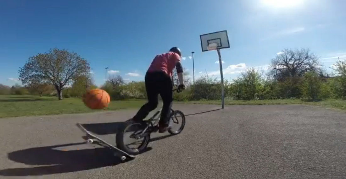 Attempt #322: Guy Uses Bicycle And Skateboard To Sink Basketball Trick Shot