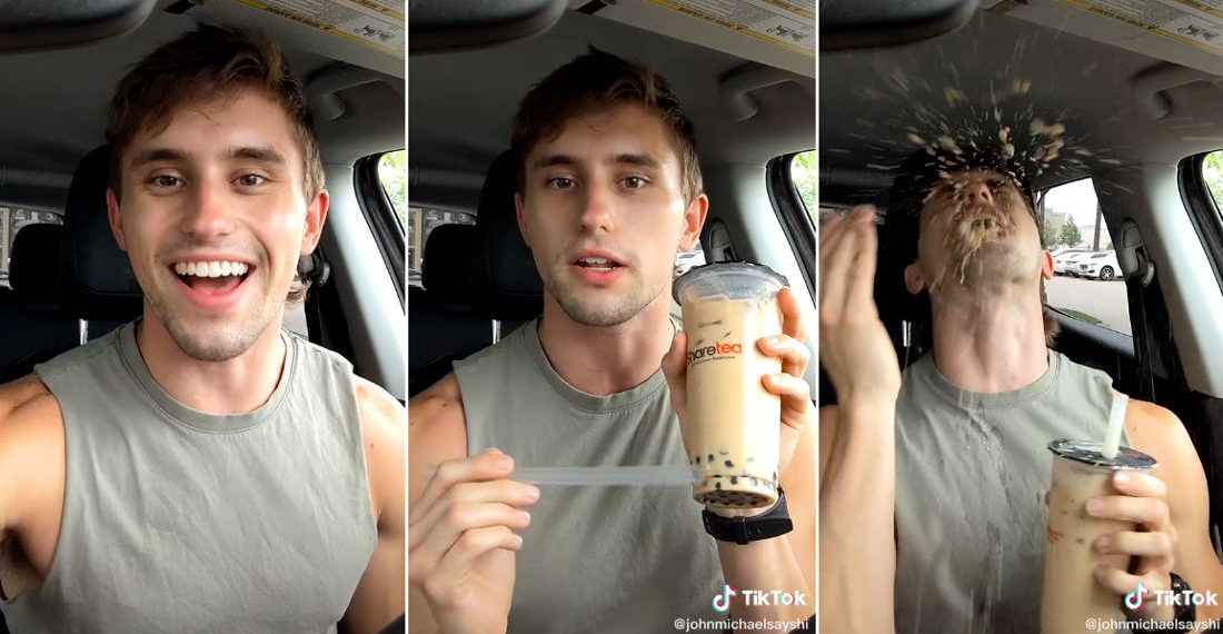 Man Caught By Surprise Trying Milk Tea With Boba For The First Time