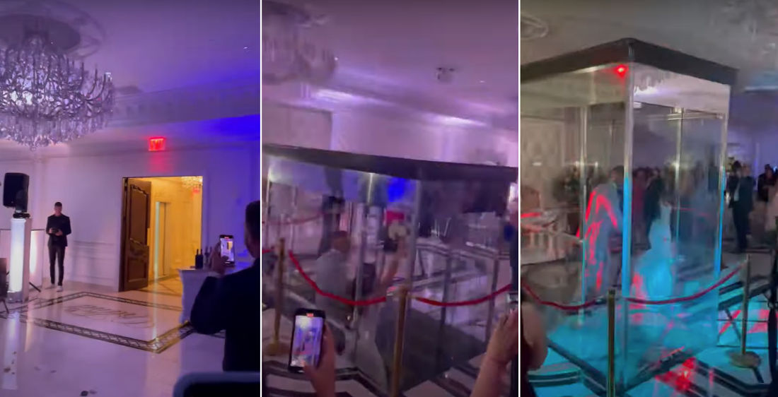 Bride And Groom Appear At Reception Through Glass Elevator In Floor